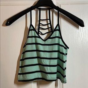 Tiffany blue and black stripe crop top